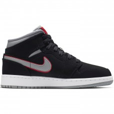 Nike Air Jordan 1 Mid GS Black Particle Grey Gym Red - Casual Shoes