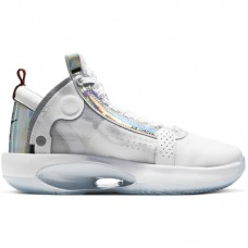 Air Jordan 34 XXXIV GS White Iridescent Metallic Silver - Basketball shoes